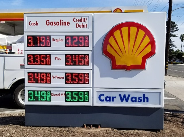 Shell Gas price sign